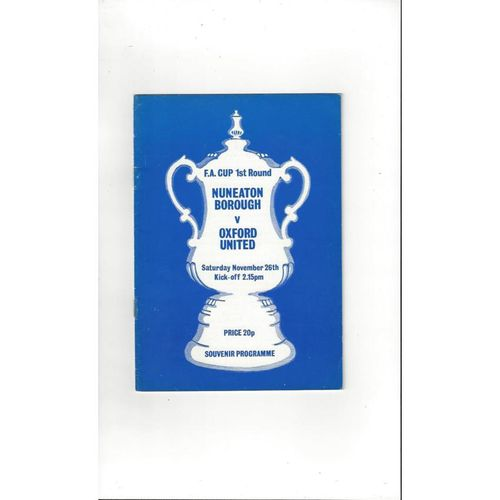 Nuneaton Borough v Oxford United FA Cup Football Programme 1978/79