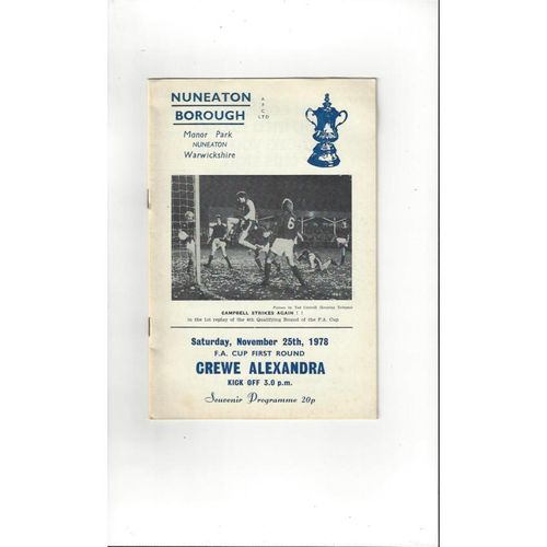 Nuneaton Borough v Crewe Alexandra FA Cup Football Programme 1978/79