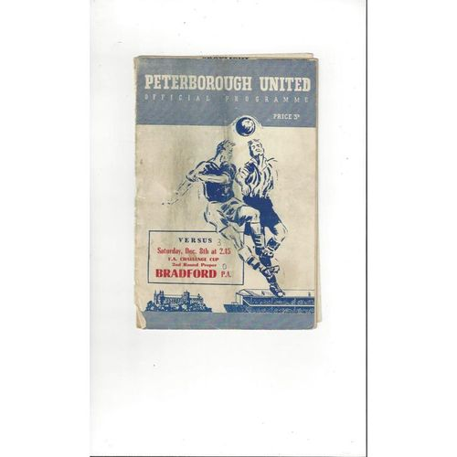 1956/57 Peterborough United v Bradford Park Avenue FA Cup Football Programme