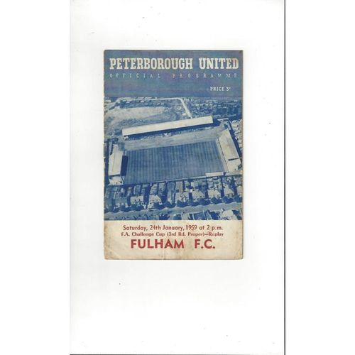 1958/59 Peterborough United v Fulham FA Cup Replay Football Programme