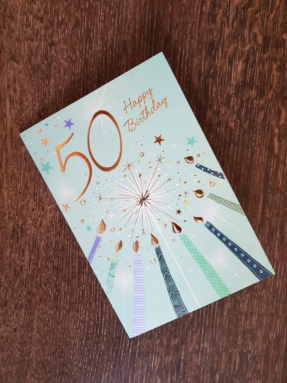 50th Birthday Stars Stripes Card