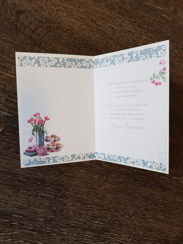 Auntie Flowers Presents Birthday Card