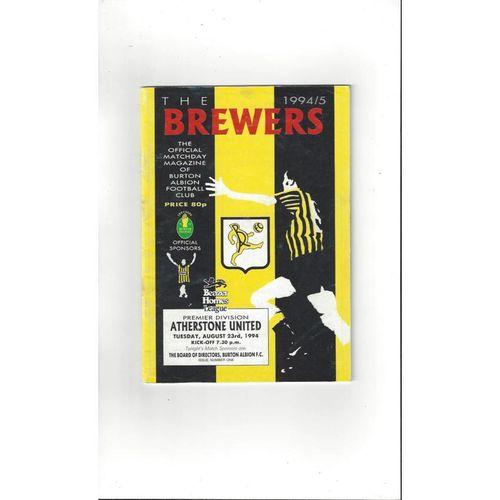 1994/95 Burton Albion v Atherstone United Football Programme