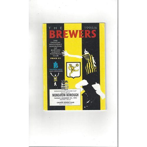1995/96 Burton Albion v Nuneaton Borough Birmingham Snr Cup Football Programme