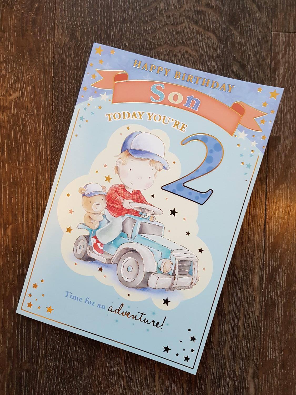 Son 2nd birthday car teddy card remember that card greeting son 2nd birthday car teddy card bookmarktalkfo Gallery