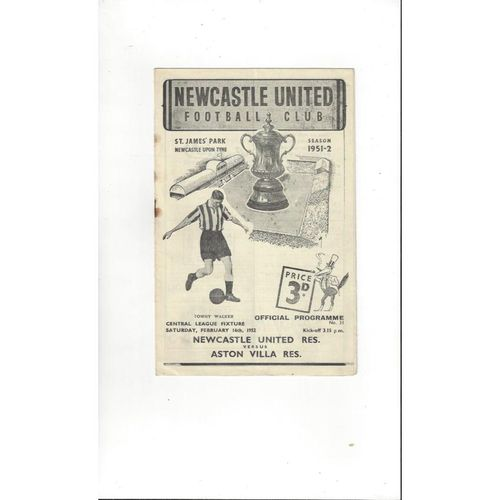 1951/52 Newcastle United v Aston Villa Reserves Football Programme