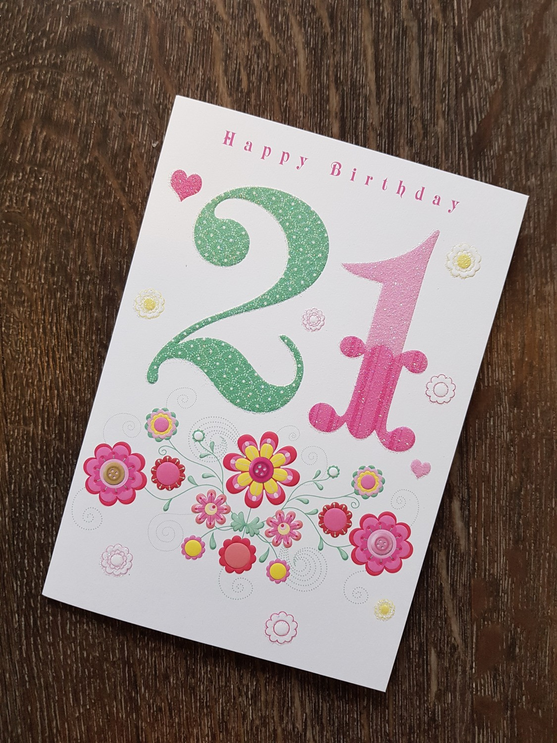 21st Birthday Pink Flowers Card