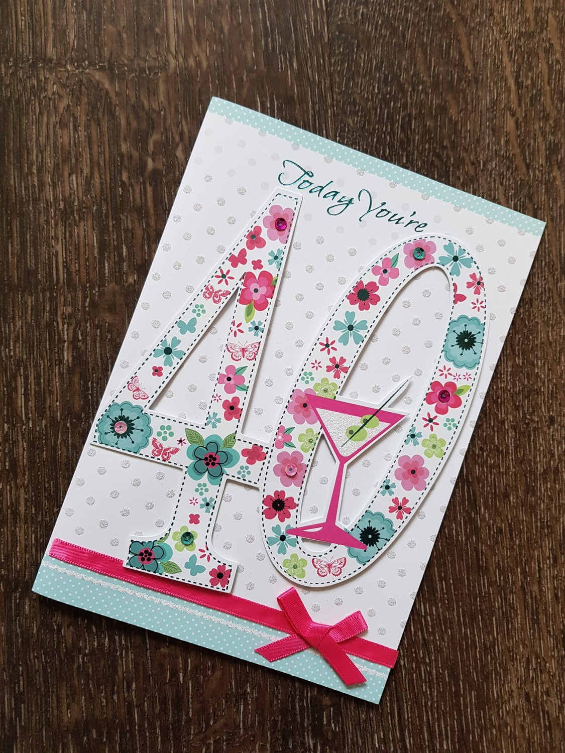40th Birthday Pink Flowers Glass Card