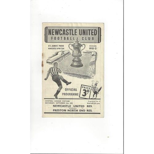 1951/52 Newcastle United v Preston Reserves Football Programme