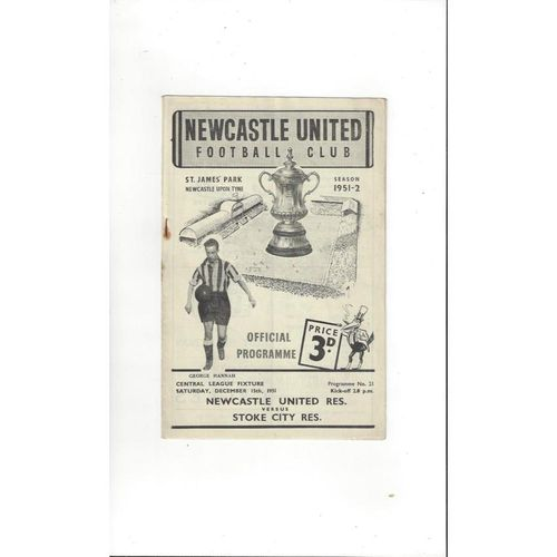 1951/52 Newcastle United v Stoke City Reserves Football Programme
