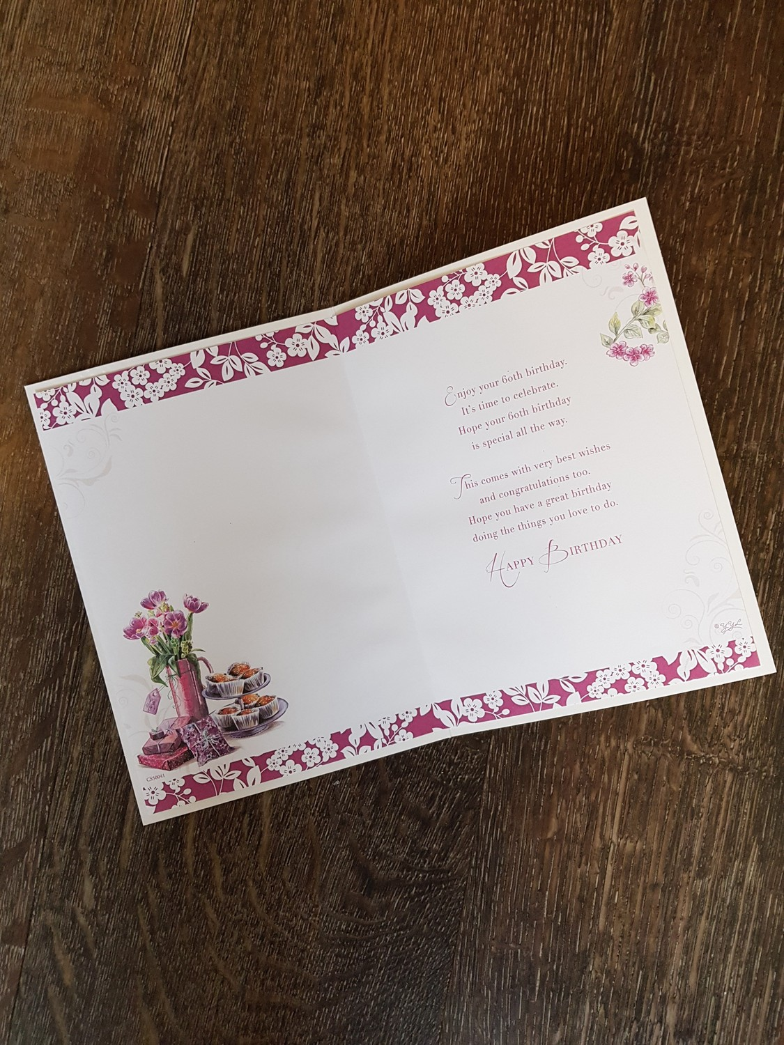 60th Birthday Flowers Cake Purple Card Remember That Card