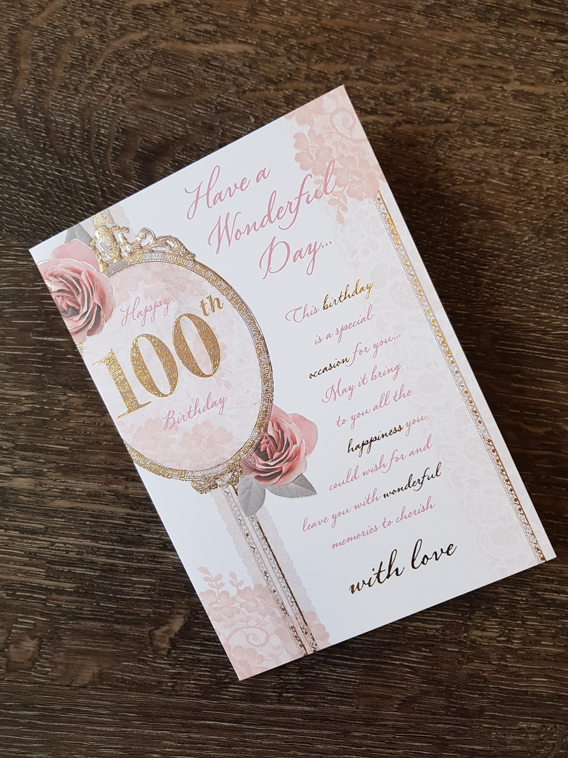 100th Birthday Pink Roses Card