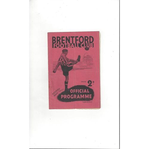 1946/47 Brentford v Derby County Football Programme