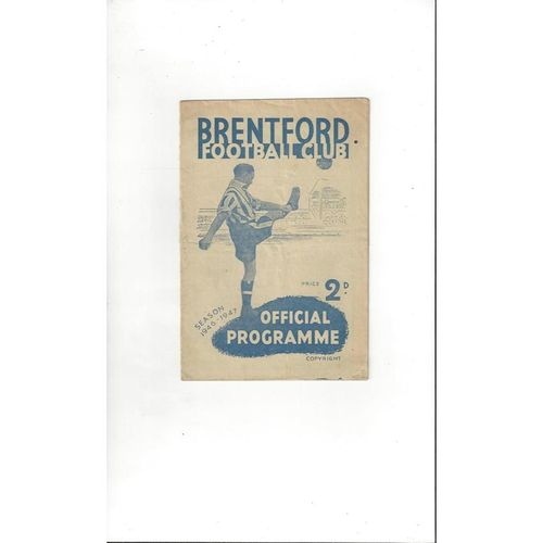 1946/47 Brentford v Middlesbrough Football Programme