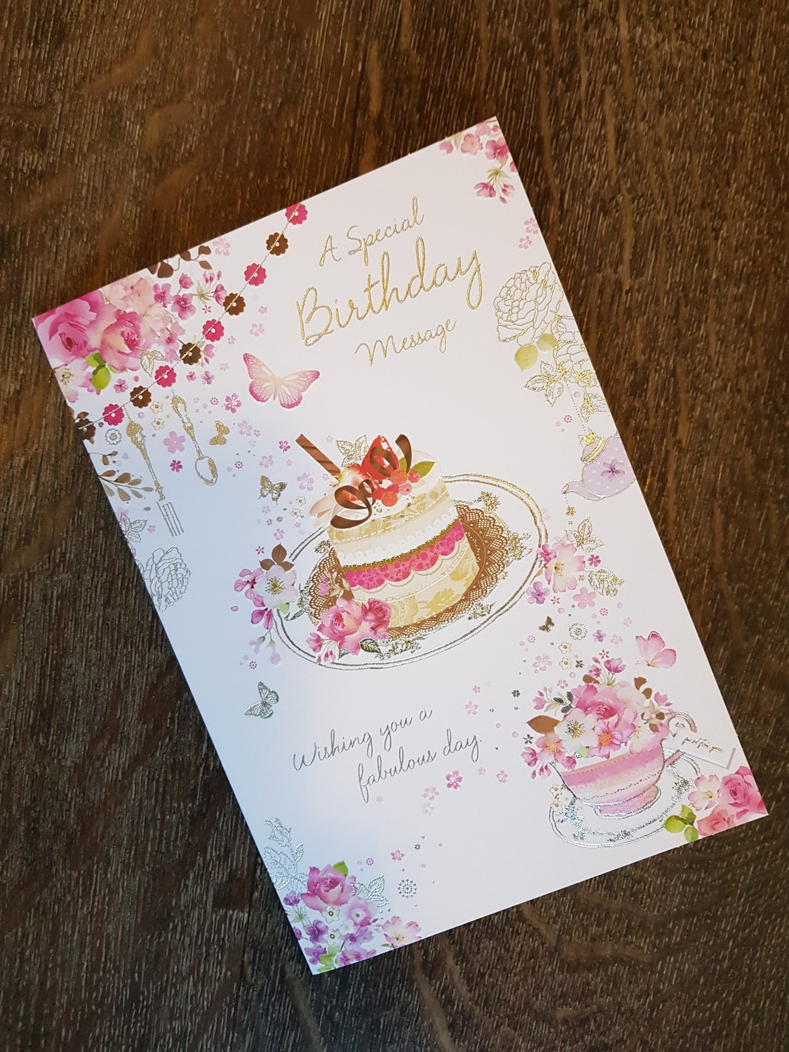 Happy Birthday Cake Flowers Pink Card Remember That Card