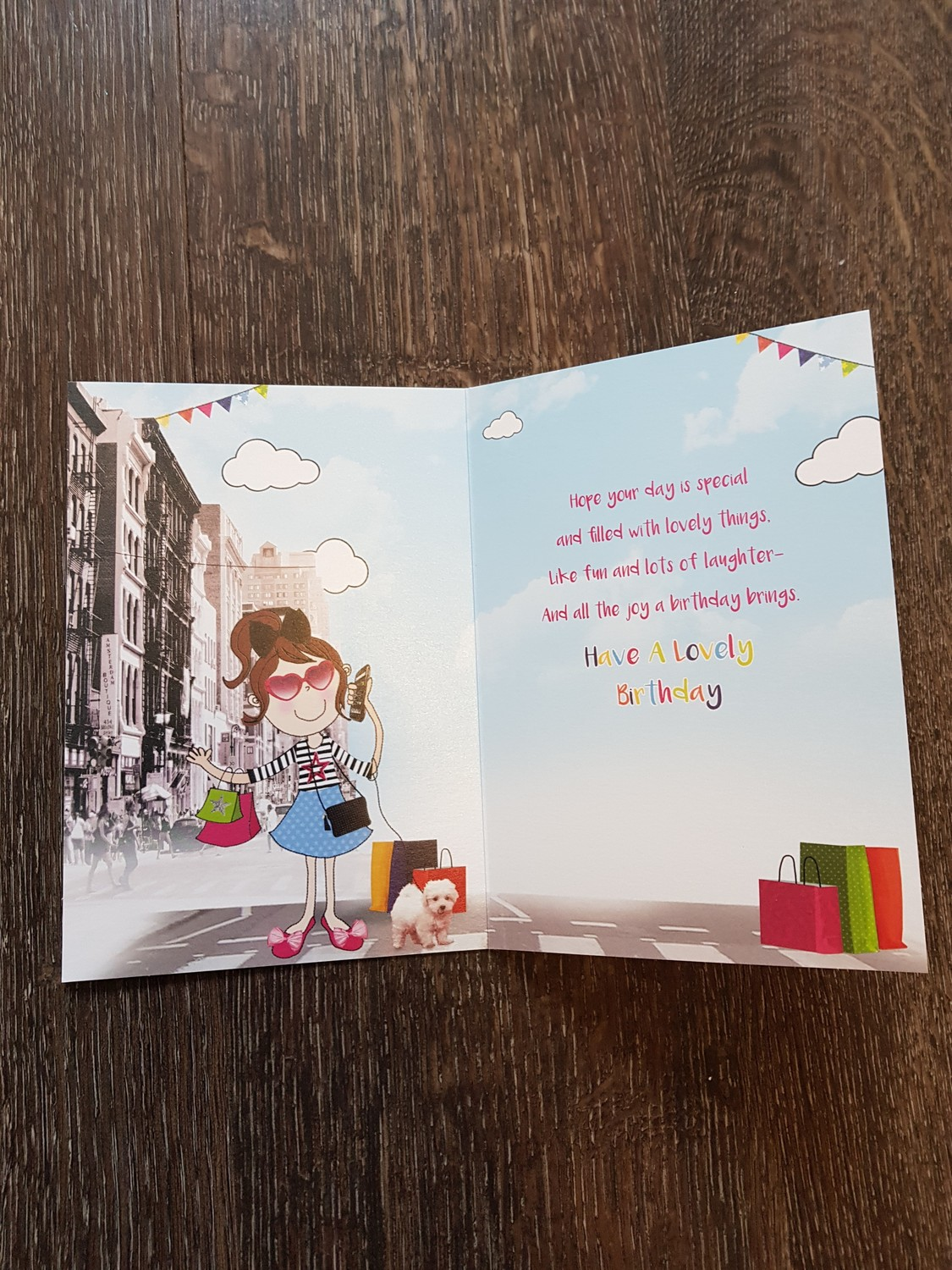 Daughter Girl With Dog Birthday Card