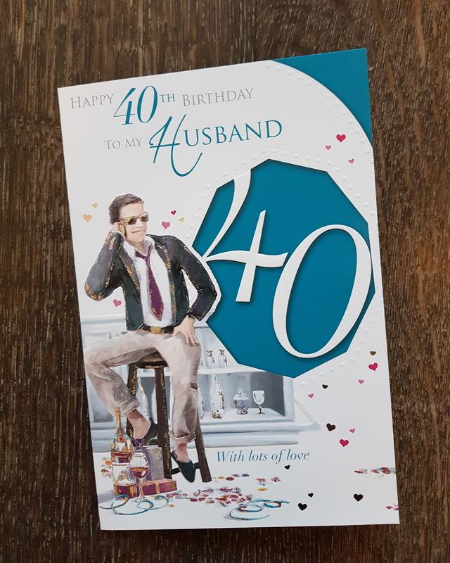 Husband 40th Man On Stool Birthday Card