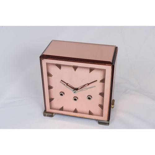 Antique Art deco rose pink glass clock - £1,250