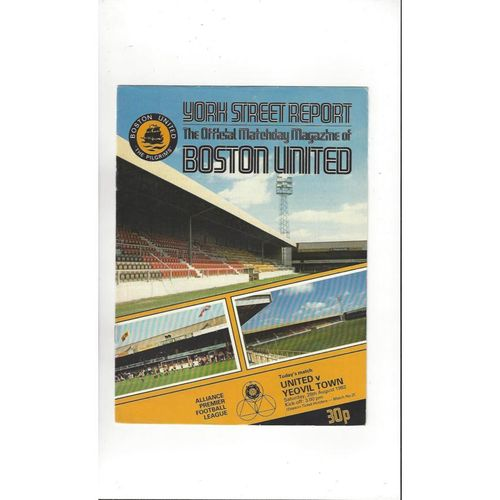 1982/83 Boston United v Yeovil Town Football Programme