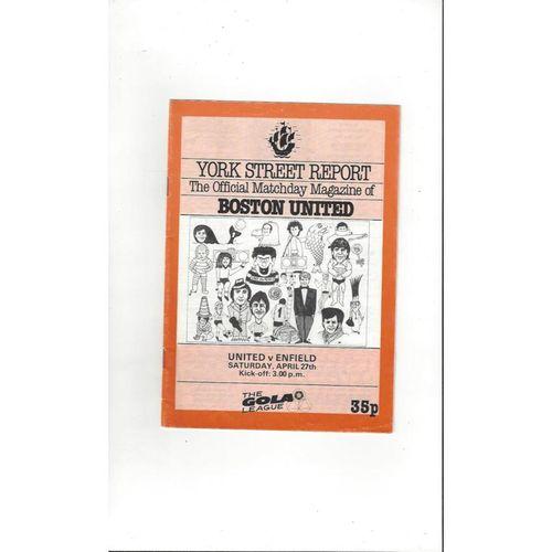 1984/85 Boston United v Enfield Football Programme