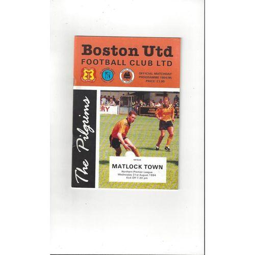 1994/95 Boston United v Matlock Town Football Programme
