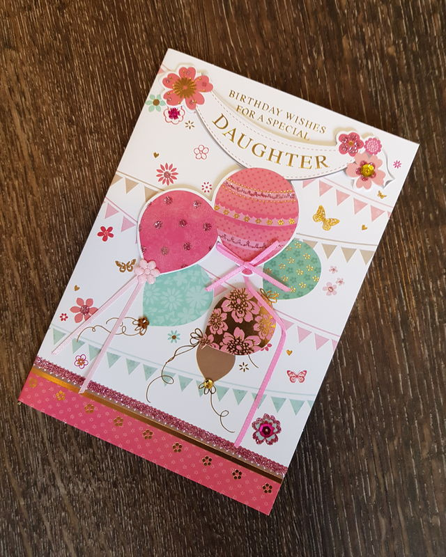 Daughter Birthday Balloons Bunting Card