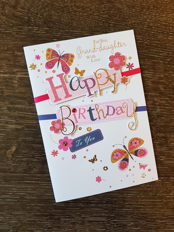 Grand Daughter Butterflies Flowers Birthday Card