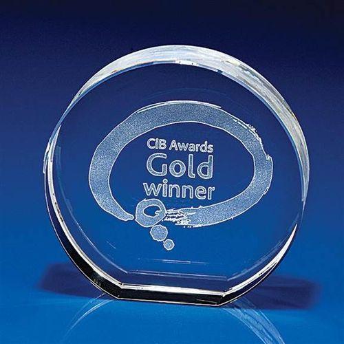 2D Crystal Trophies/Awards (Circle) 100x100x30