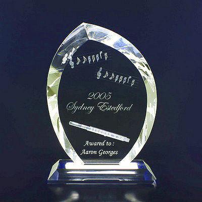 2D Crystal Trophies/Awards (Large Leaf)
