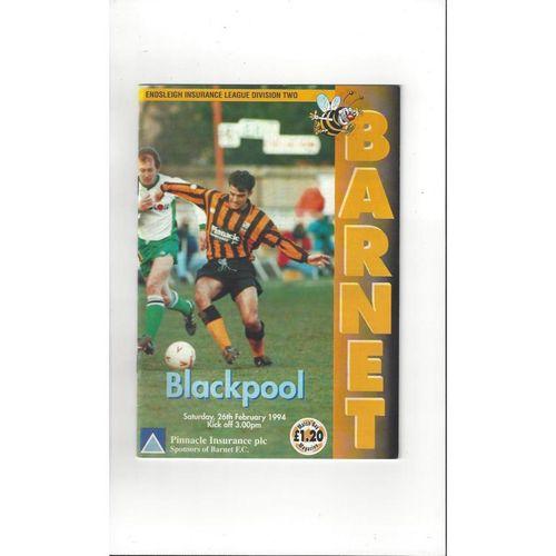 1993/94 Barnet v Blackpool Football Programme