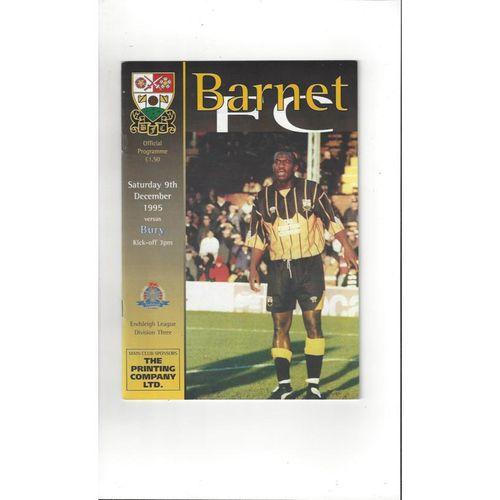 1995/96 Barnet v Bury Football Programme