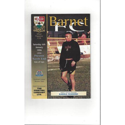 1995/96 Barnet v Preston Football Programme
