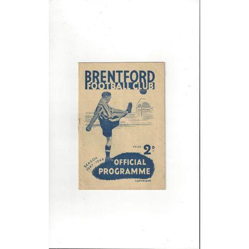 1947/48 Brentford v Aston Villa Friendly Football Programme