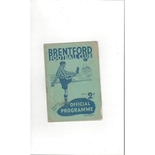 1947/48 Brentford v Middlesbrough FA Cup Football Programme