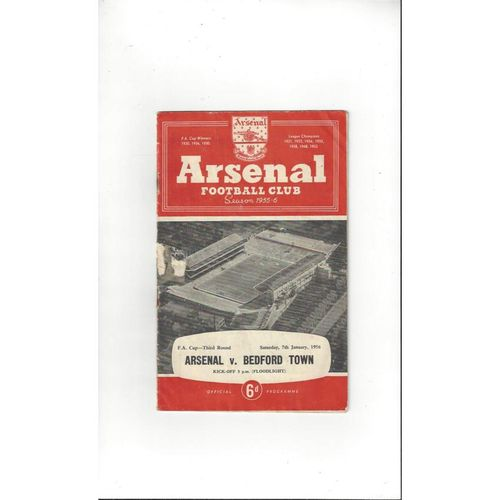 1955/56 Arsenal v Bedford FA Cup Football Programme