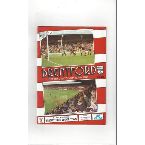 1990/91 Brentford v Yeovil Town FA Cup Football Programme
