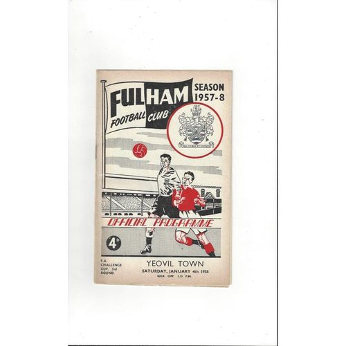 1957/58 Fulham v Yeovil Town FA Cup Football Programme