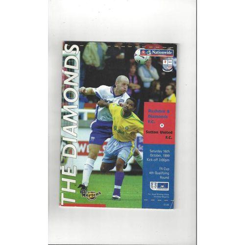1999/00 Rushden & Diamonds v Sutton United FA Cup Football Programme