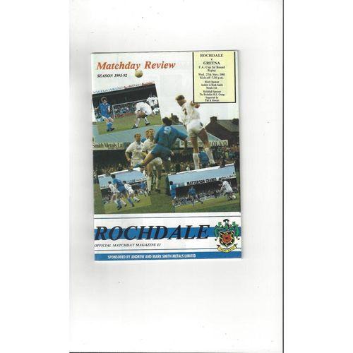 1991/92 Rochdale v Gretna FA Cup Replay Football Programme