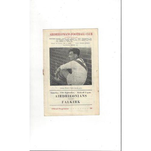 1955/56 Airdrie v Falkirk Football Programme