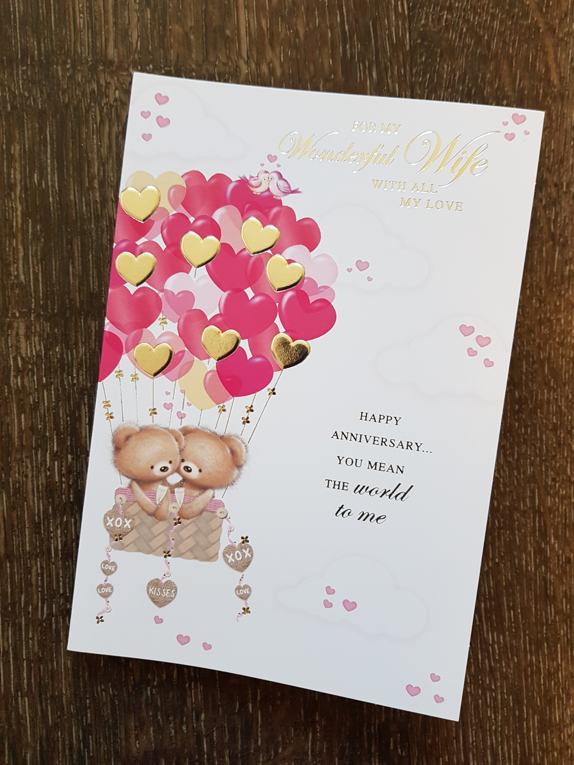 Wife Teddys Pink Hearts Anniversary Card Remember That Card
