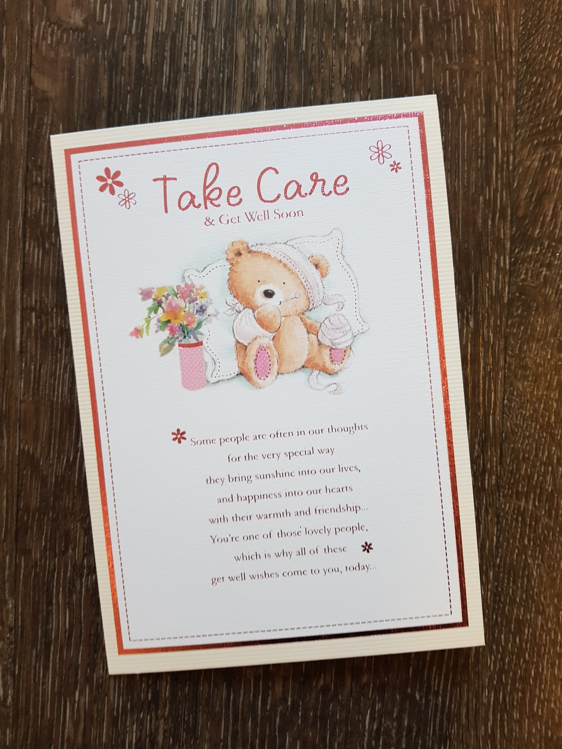 Get Well Teddy Flowers Card Remember That Card Greeting Cards