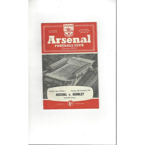 1955/56 Arsenal v Burnley Football Programme