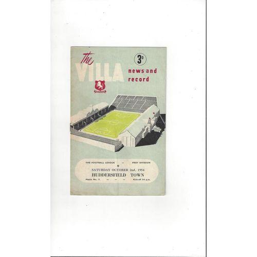 1954/55 Aston Villa v Huddersfield Town Football Programme