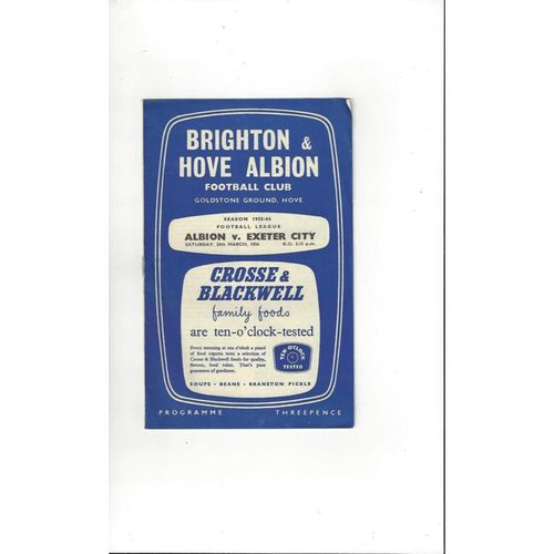 1955/56 Brighton v Exeter City Football Programme