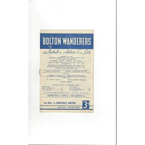 1955/56 Bolton Wanderers v Sheffield United Football Programme