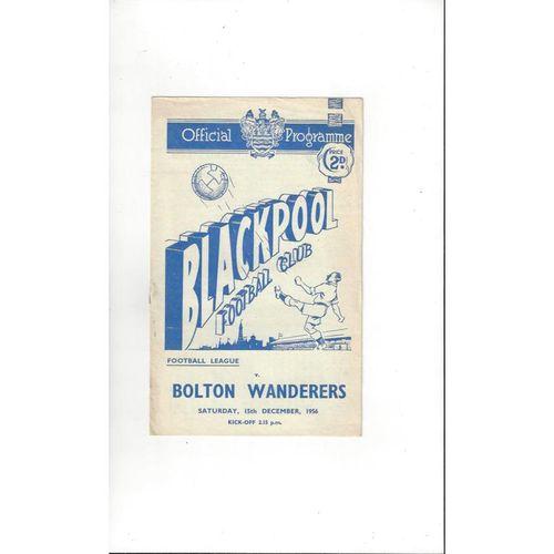 1956/57 Blackpool v Bolton Wanderers Football Programme