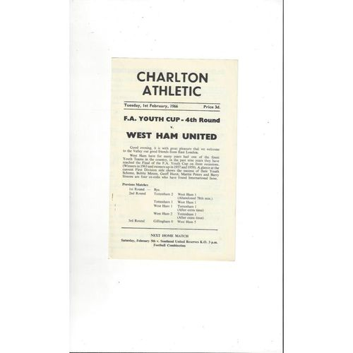 Charlton Athletic v West Ham United FA Youth Cup Football Programme 1965/66