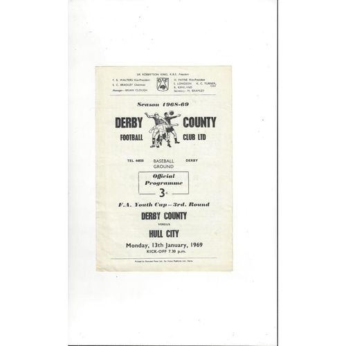 Derby County v Hull City FA Youth Cup Football Programme 1968/69