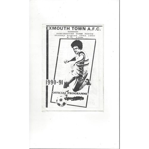 Exmouth Town v Dorchester Town Youth Football Programme 1990/91